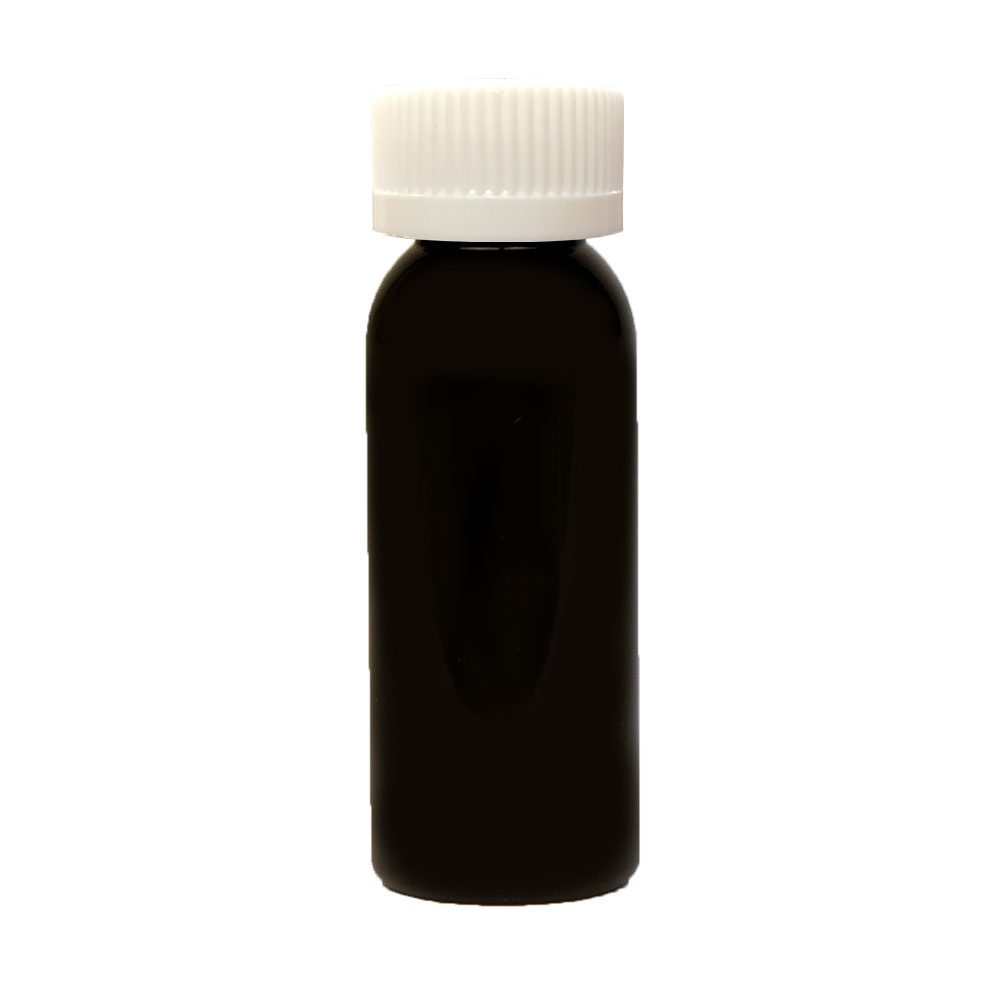 1 oz. Black PET Cosmo Round Bottle with CRC 20/410 Cap