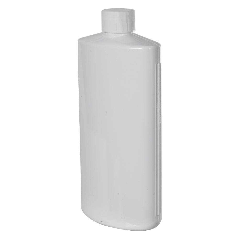 16 oz. White PVC Oval Bottle with Plain 28/410 Cap
