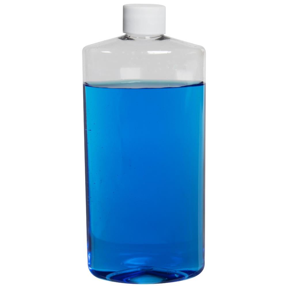16 oz. Clear PET Oval Bottle with Plain 28/410 Cap