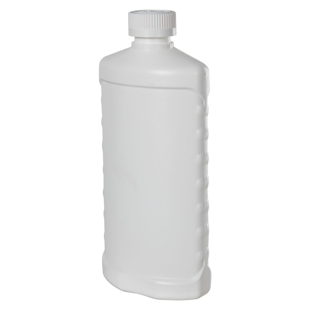 16 oz. White HDPE Bottle with Side Grips & CRC 28/410 Cap with F217 Liner