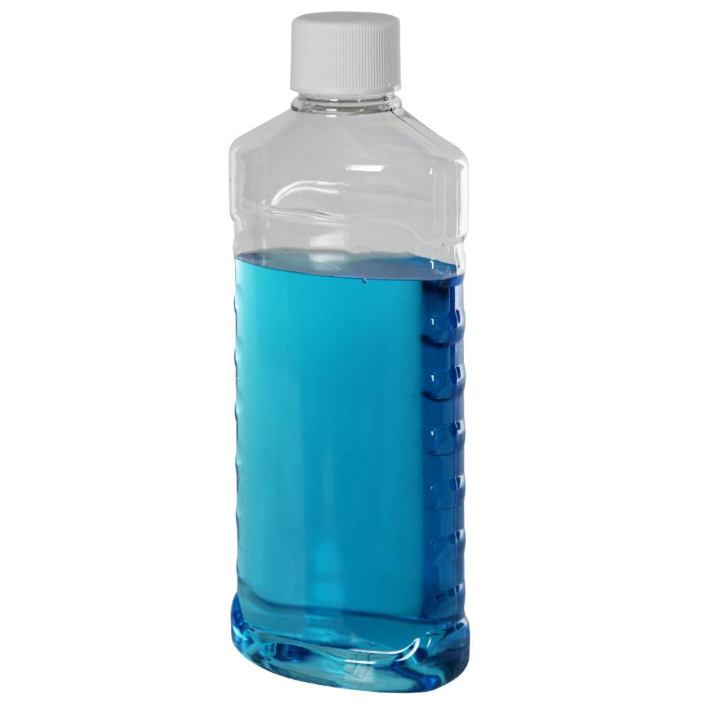 8 oz. Clear PET EZ Grip Oval Bottle with Plain 24/410 Cap
