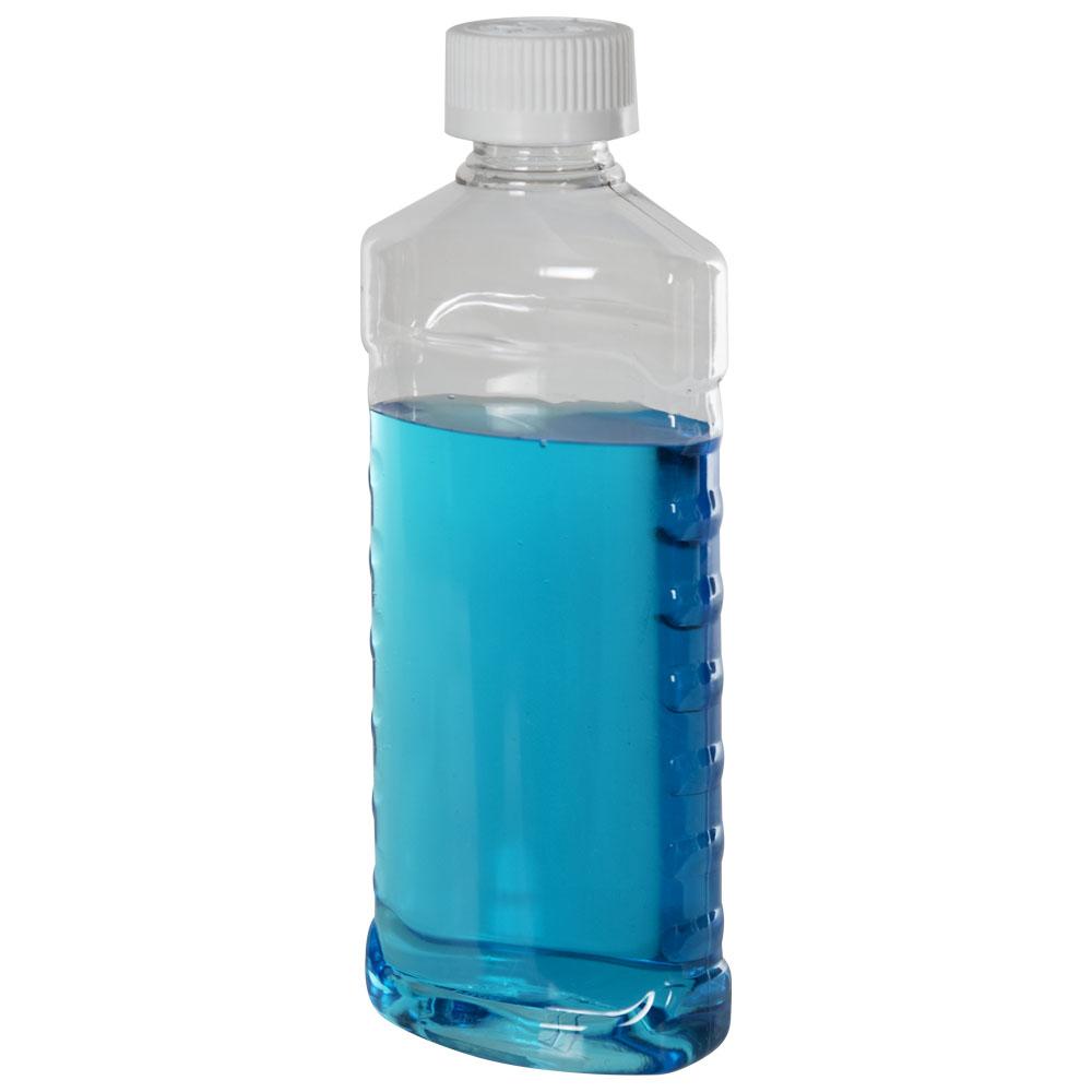 8 oz. Clear PET EZ Grip Oval Bottle with CRC 24/410 Cap
