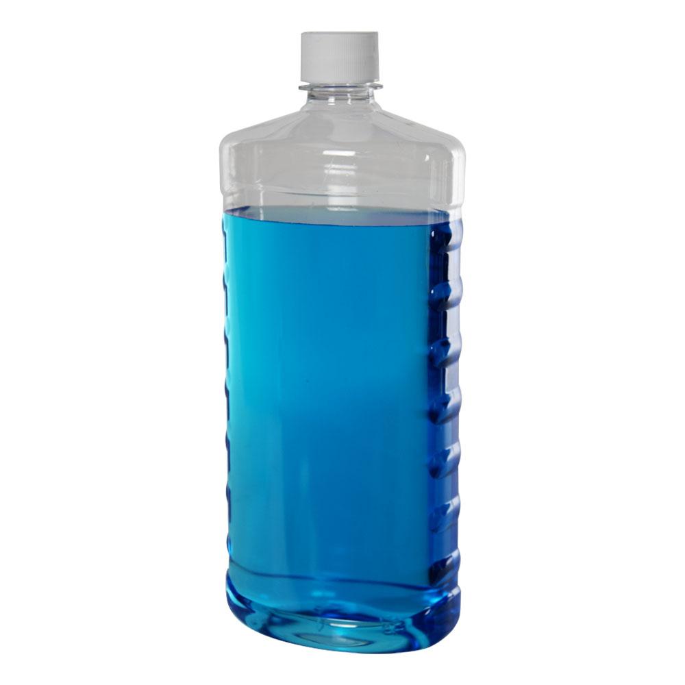32 oz. Clear PET EZ Grip Oval Bottle with Plain 28/410 Cap