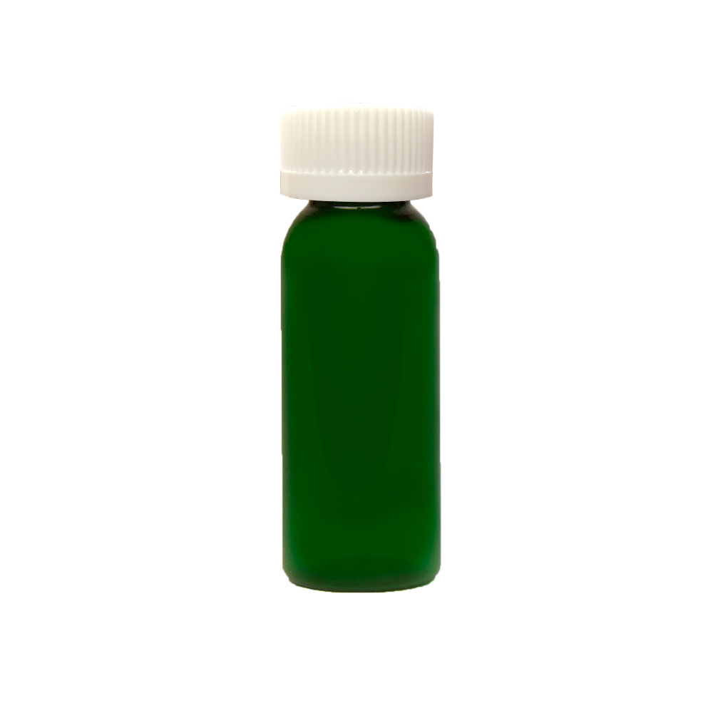 1 oz. Dark Green PET Cosmo Round Bottle with CRC 20/410 Cap