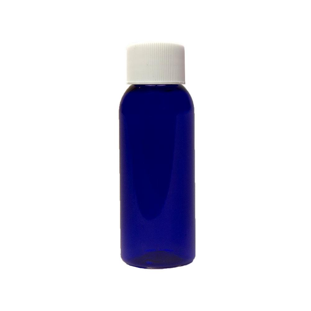 1 oz. Cobalt Blue PET Cosmo Round Bottle with Plain 20/410 Cap