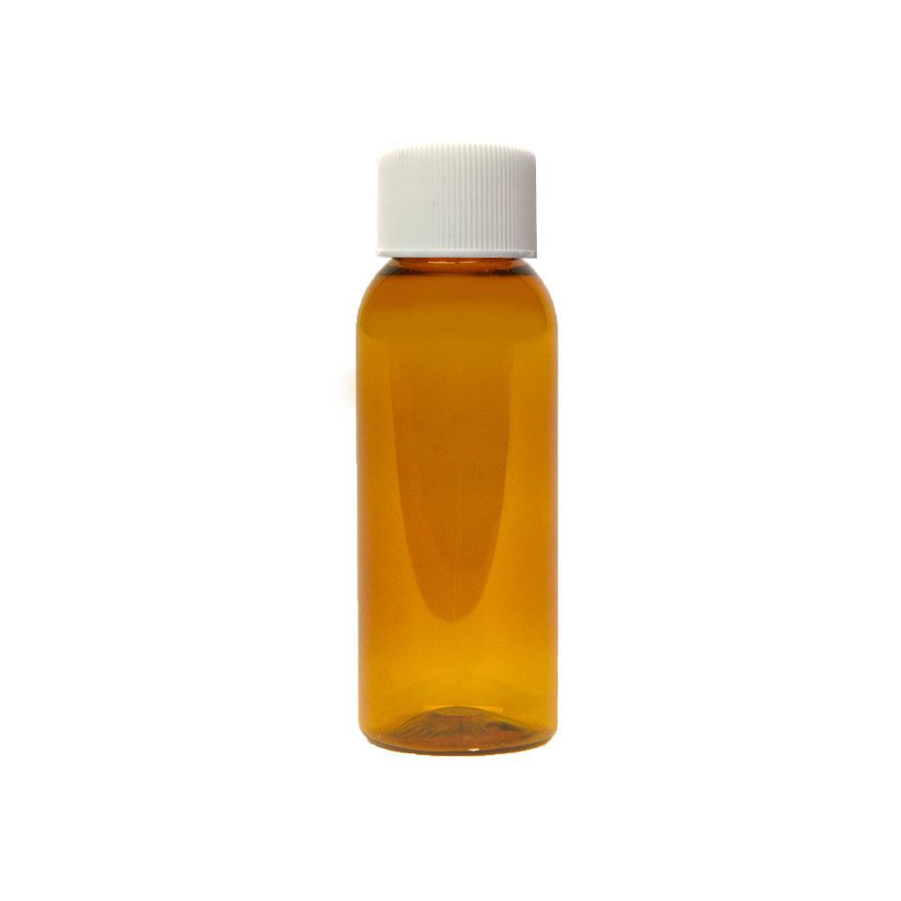 1 oz. Clarified Amber PET Cosmo Round Bottle with Plain 20/410 Cap
