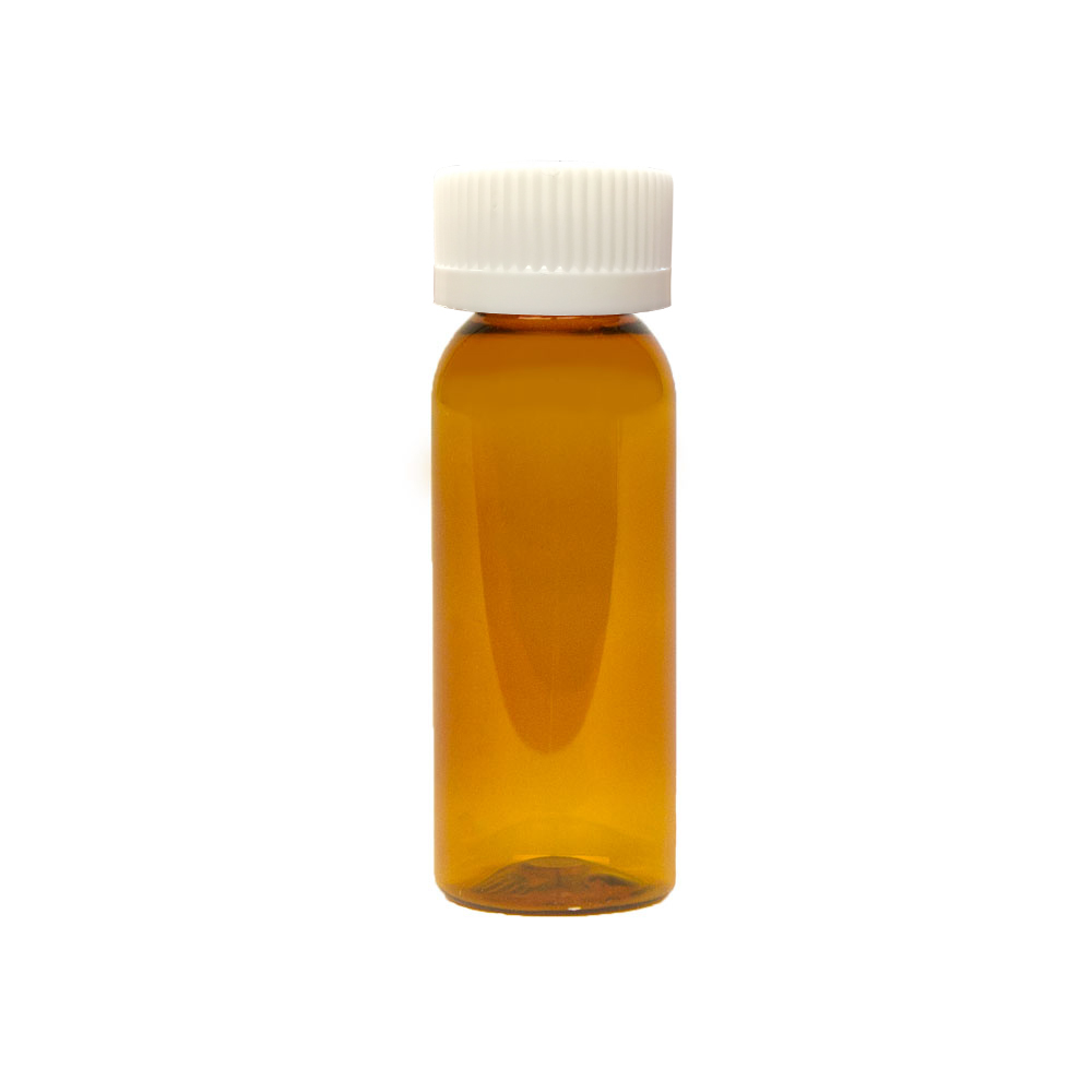 1 oz. Clarified Amber PET Cosmo Round Bottle with CRC 20/410 Cap
