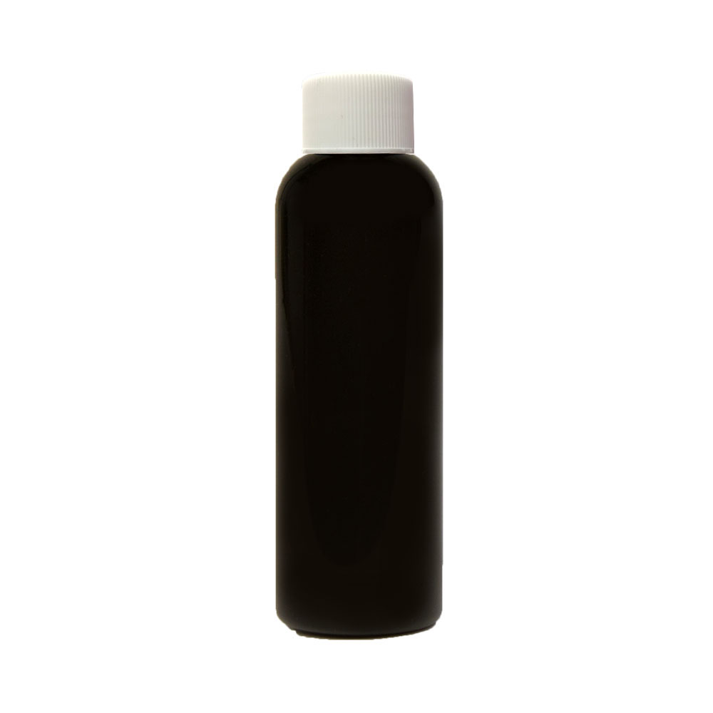 2 oz. Black PET Cosmo Round Bottle with Plain 20/410 Cap