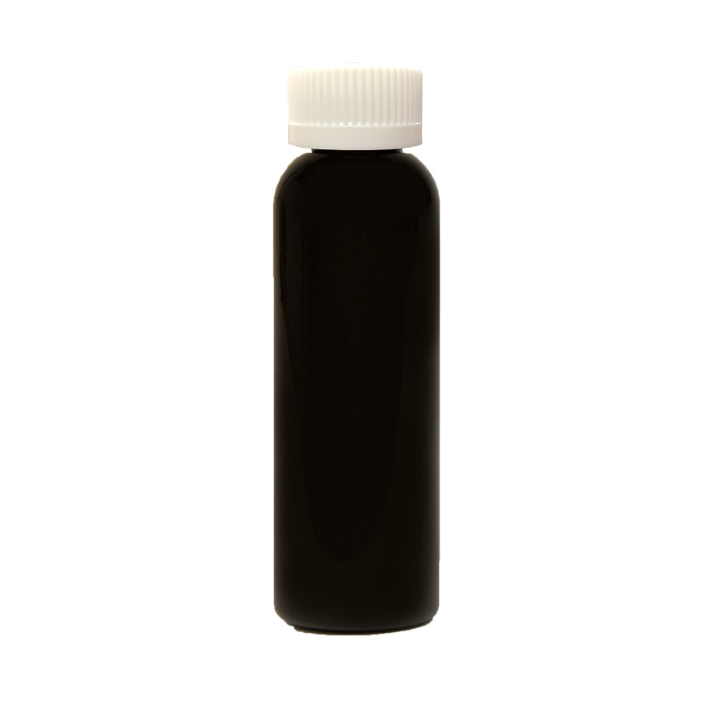 2 oz. Black PET Cosmo Round Bottle with CRC 20/410 Cap with F217 Liner