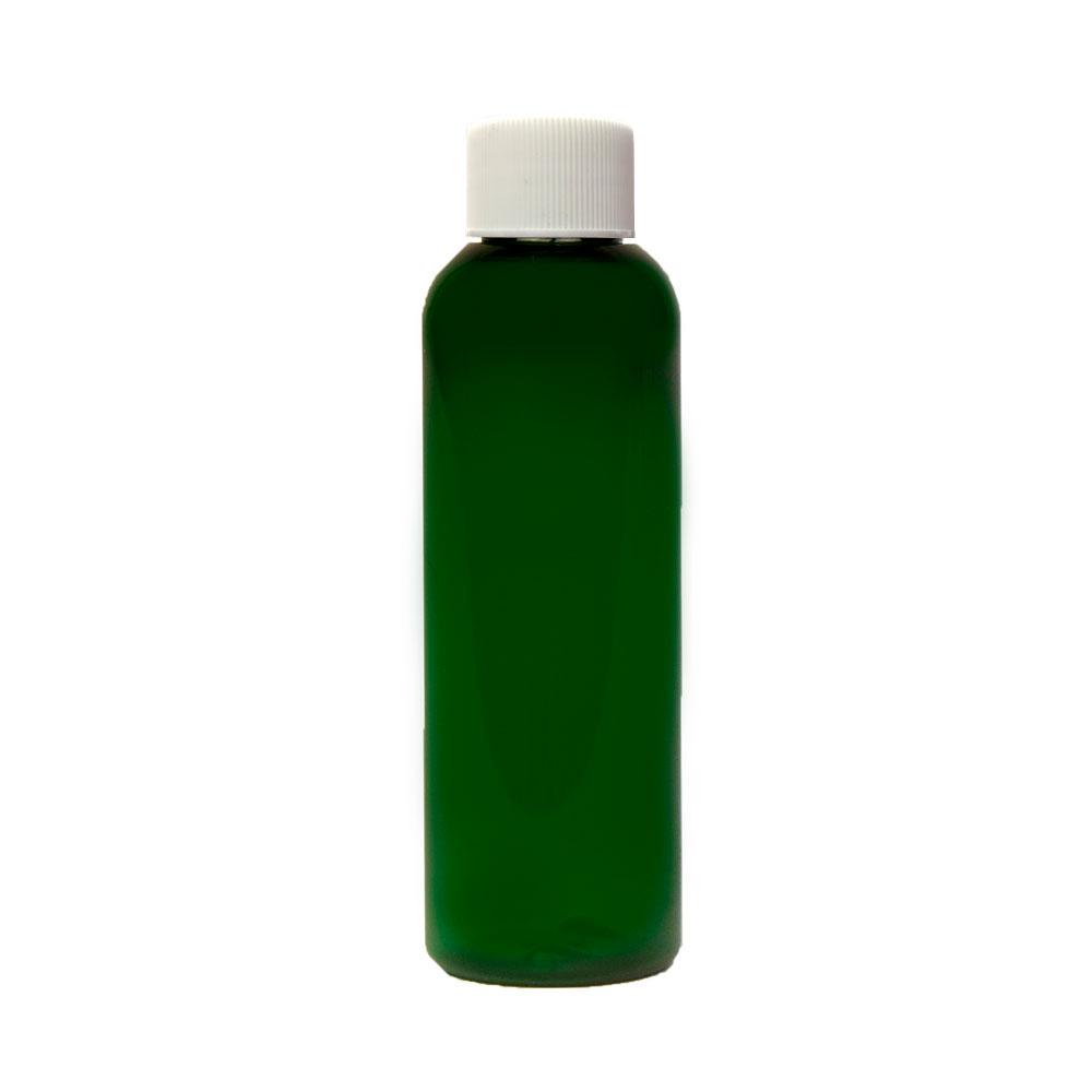 2 oz. Dark Green PET Cosmo Round Bottle with Plain 20/410 Cap with F217 Liner