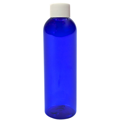 2 oz. Cobalt Blue PET Cosmo Round Bottle with Plain 20/410 Cap