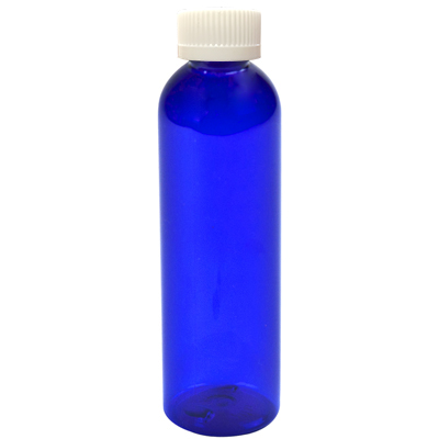 2 oz. Cobalt Blue PET Cosmo Round Bottle with CRC 20/410 Cap with F217 Liner