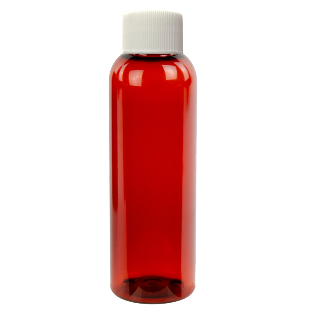2 oz. Red Amber PET Cosmo Round Bottle with Plain 20/410 Cap