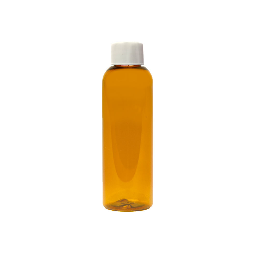 2 oz. Clarified Amber PET Cosmo Round Bottle with Plain 20/410 Cap