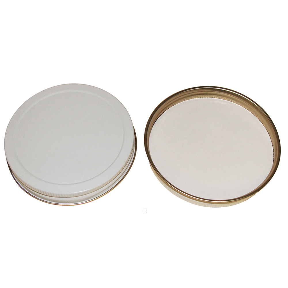 43/400 White/Gold Tin Cap with Pulp/PE Liner
