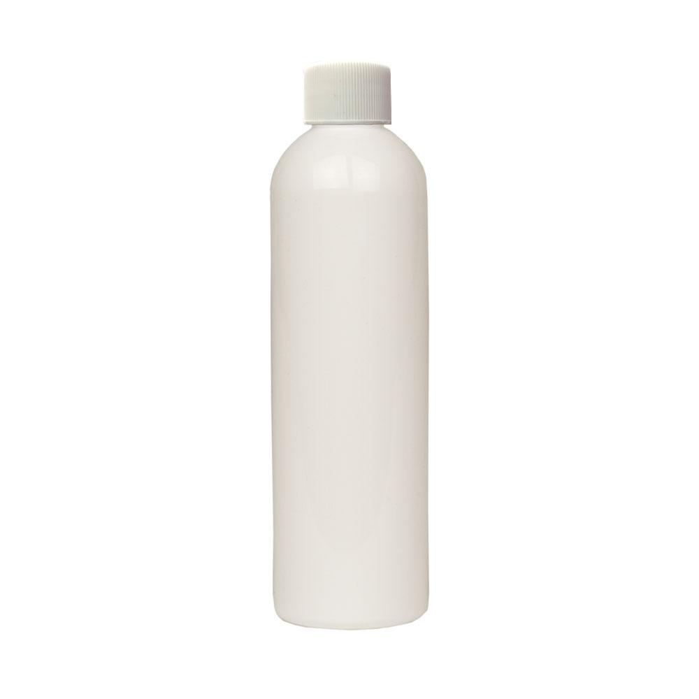 4 oz. White PET Cosmo Round Bottle with Plain 20/410 Cap