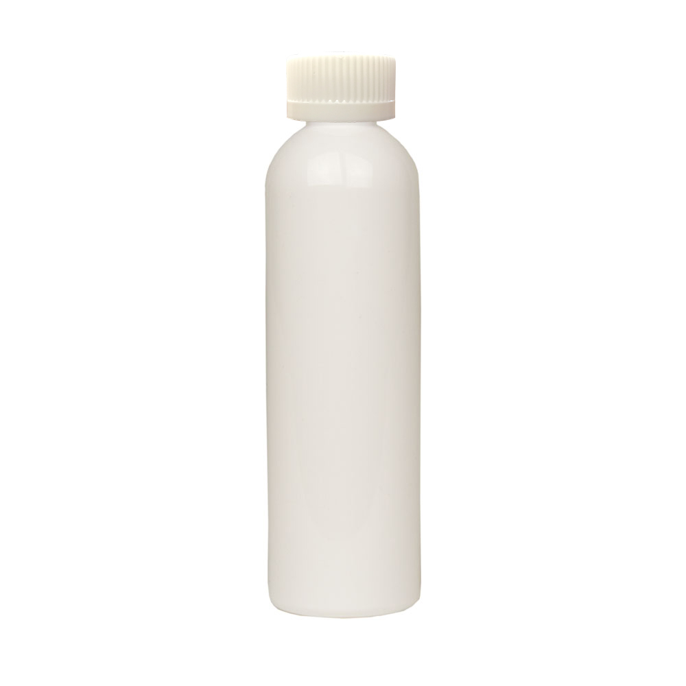 4 oz. White PET Cosmo Round Bottle with CRC 20/410 Cap