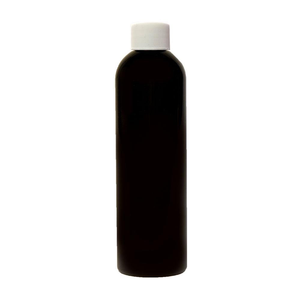 4 oz. Black PET Cosmo Round Bottle with Plain 20/410 Cap