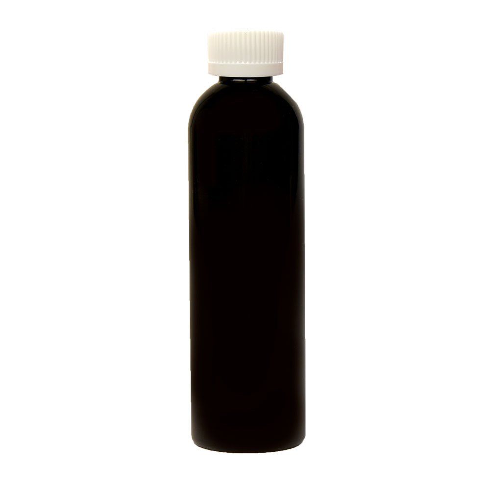 4 oz. Black PET Cosmo Round Bottle with CRC 20/410 Cap with F217 Liner