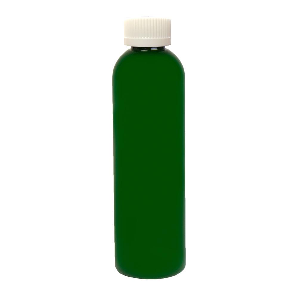 4 oz. Dark Green PET Cosmo Round Bottle with CRC 20/410 Cap