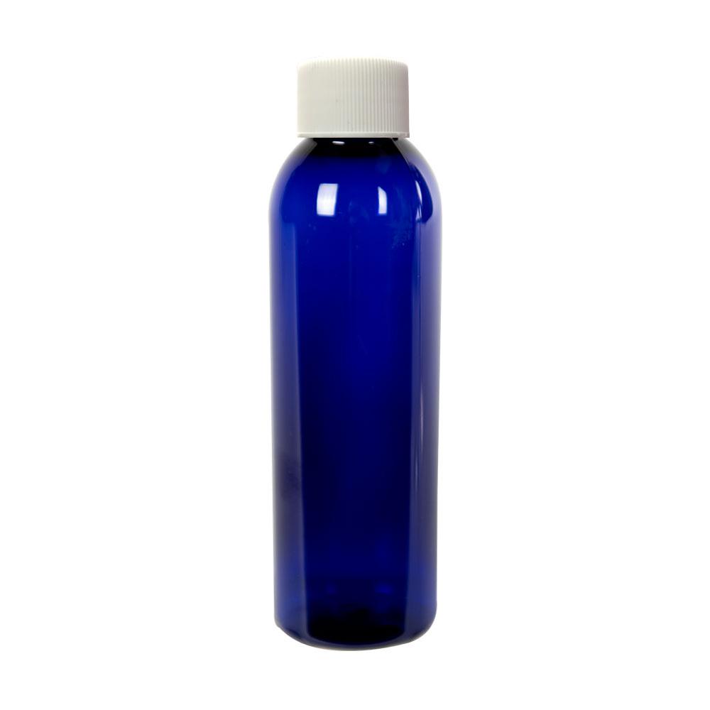4 oz. Cobalt Blue PET Cosmo Round Bottle with Plain 20/410 Cap