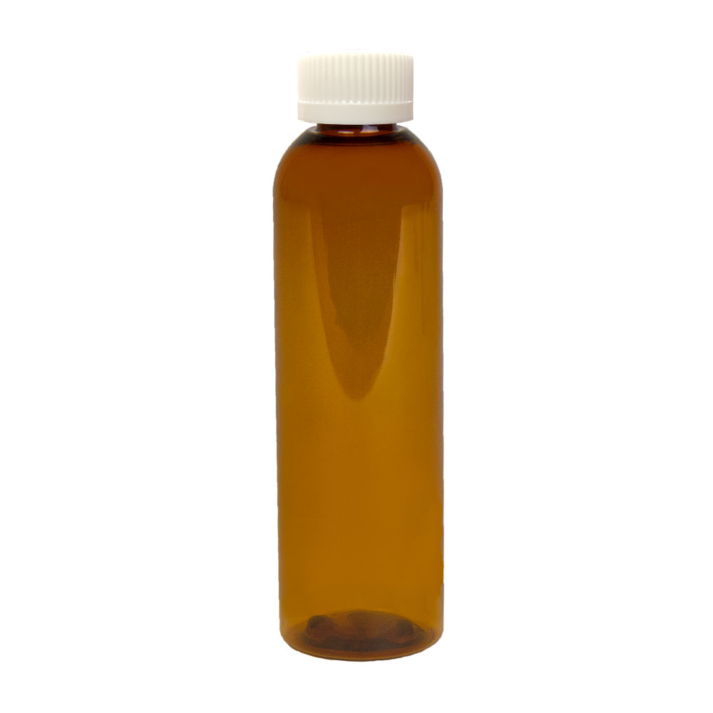 4 oz. Clarified Amber PET Cosmo Round Bottle with CRC 20/410 Cap
