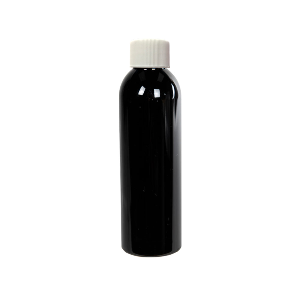 4 oz. Black PET Cosmo Round Bottle with Plain 24/410 Cap with F217 Liner