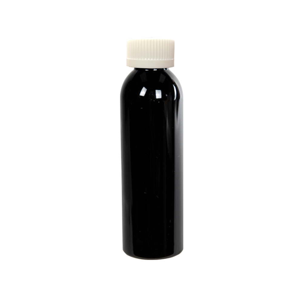 4 oz. Black PET Cosmo Round Bottle with CRC 24/410 Cap