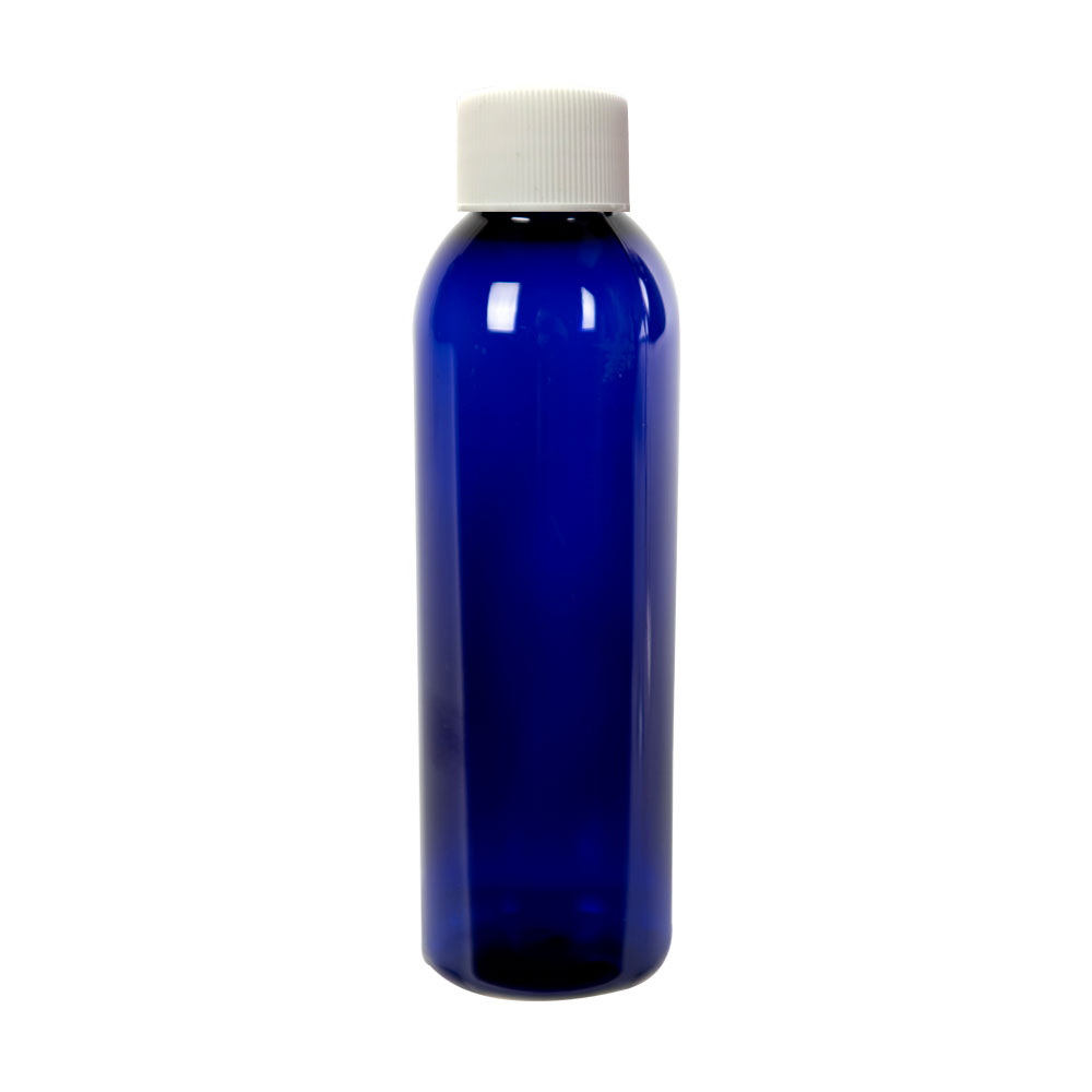 4 oz. Cobalt Blue PET Cosmo Round Bottle with Plain 24/410 Cap