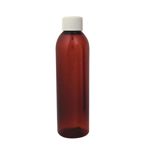 4 oz. Light Amber PET Cosmo Round Bottle with Plain 24/410 Cap