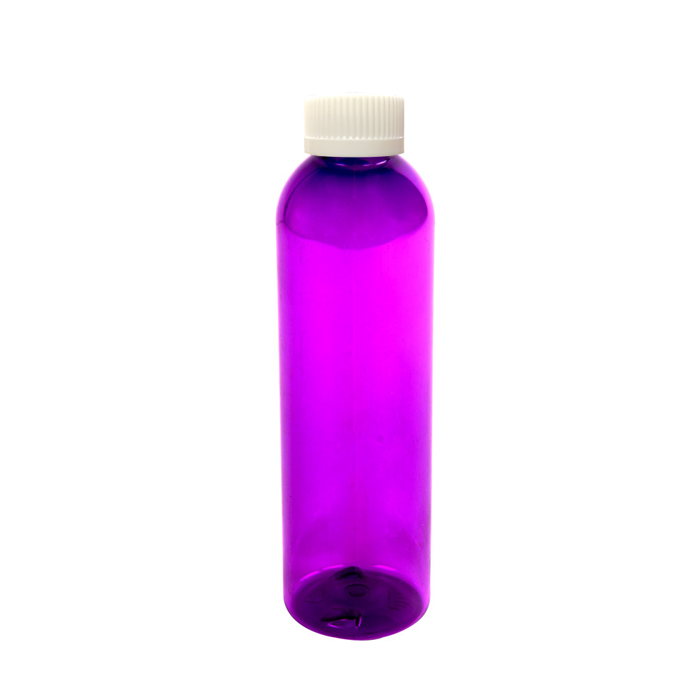 4 oz. Purple PET Cosmo Round Bottle with CRC 20/410 Cap