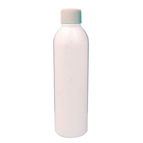 6 oz. White PET Cosmo Round Bottle with Plain 24/410 Cap
