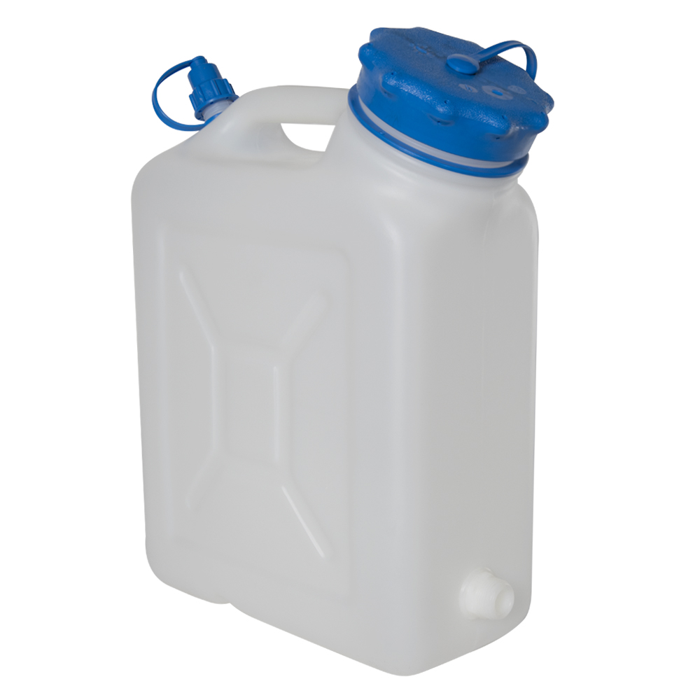 """10 Liter Wide Mouth HDPE Jerrican with Blue Vented Cap & 3/4"""" Threaded Connector"""