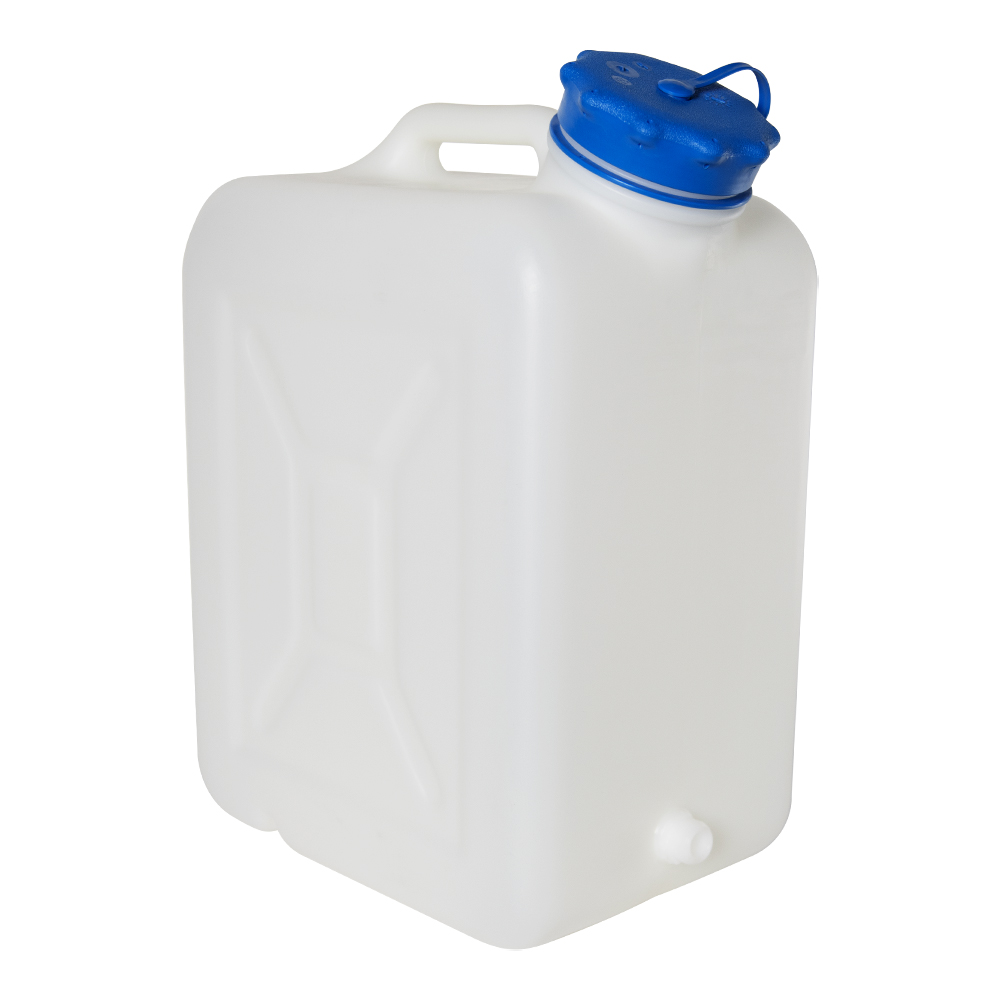 """30 Liter Wide Mouth HDPE Jerrican with Blue Vented Cap & 3/4"""" Threaded Connector"""