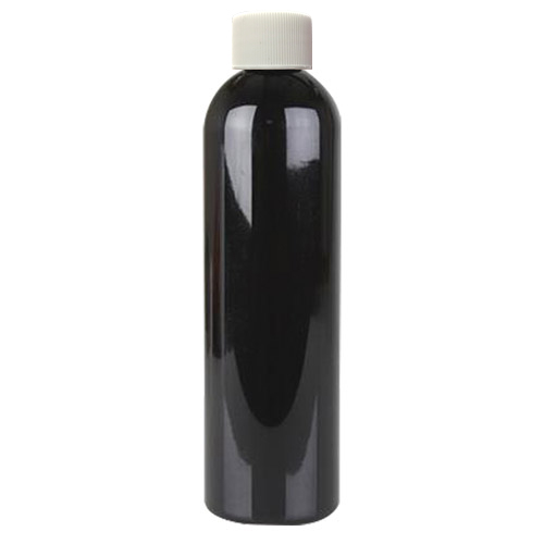 6 oz. Black PET Cosmo Round Bottle with Plain 24/410 Cap