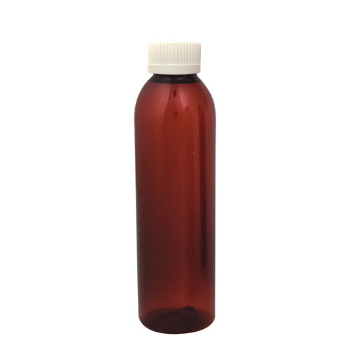 6 oz. Light Amber PET Cosmo Round Bottle with CRC 24/410 Cap