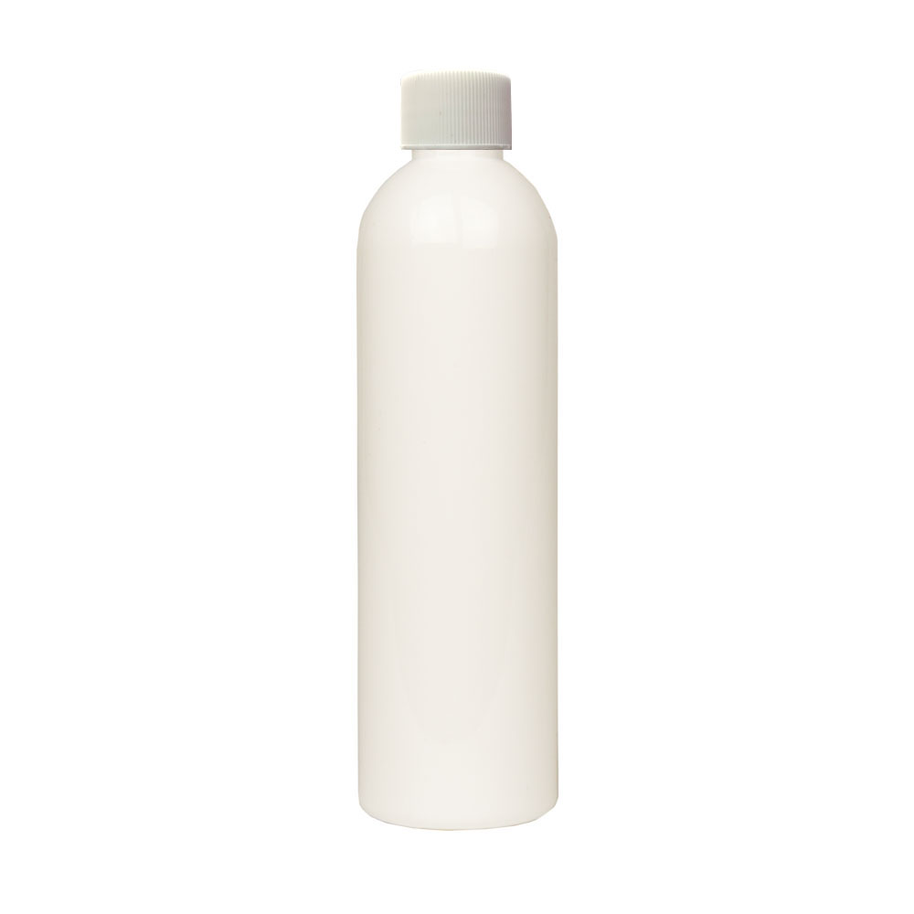 8 oz. White PET Cosmo Round Bottle with Plain 24/410 Cap