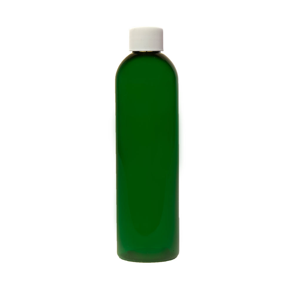 8 oz. Dark Green PET Cosmo Round Bottle with Plain 24/410 Cap