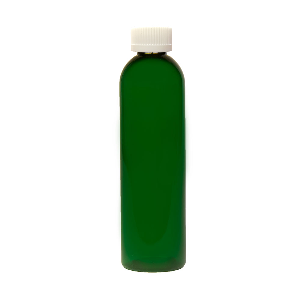 8 oz. Dark Green PET Cosmo Round Bottle with CRC 24/410 Cap with F217 Liner