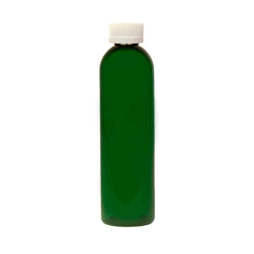 8 oz. Dark Green PET Cosmo Round Bottle with CRC 24/410 Cap
