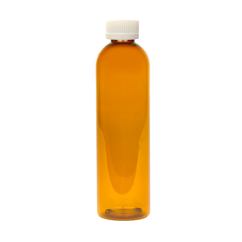 8 oz. Clarified Amber PET Cosmo Round Bottle with CRC 24/410 Cap