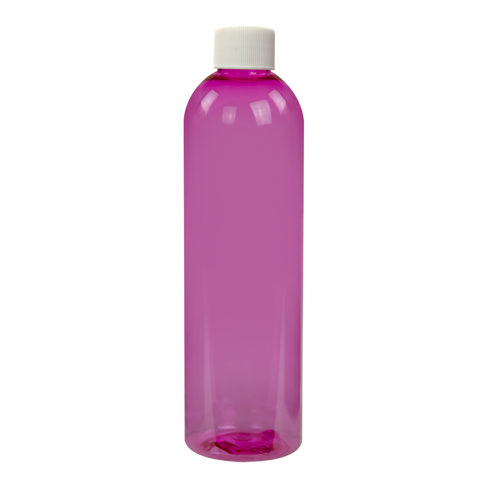 8 oz. Pink PET Cosmo Round Bottle with Plain 24/410 Cap