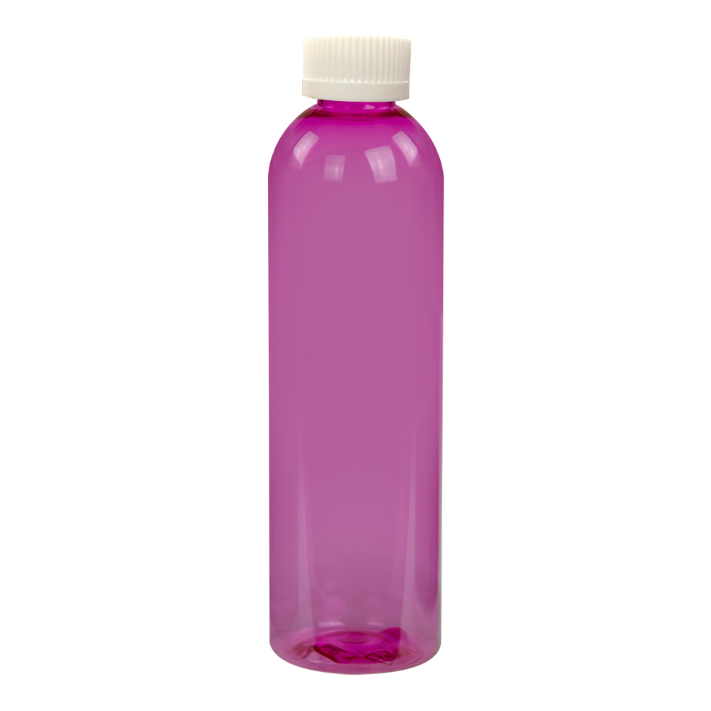 8 oz. Pink PET Cosmo Round Bottle with CRC 24/410 Cap