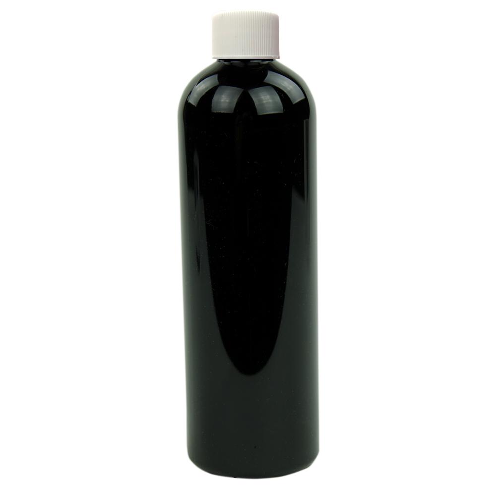 12 oz. Black PET Cosmo Round Bottle with Plain 24/410 Cap