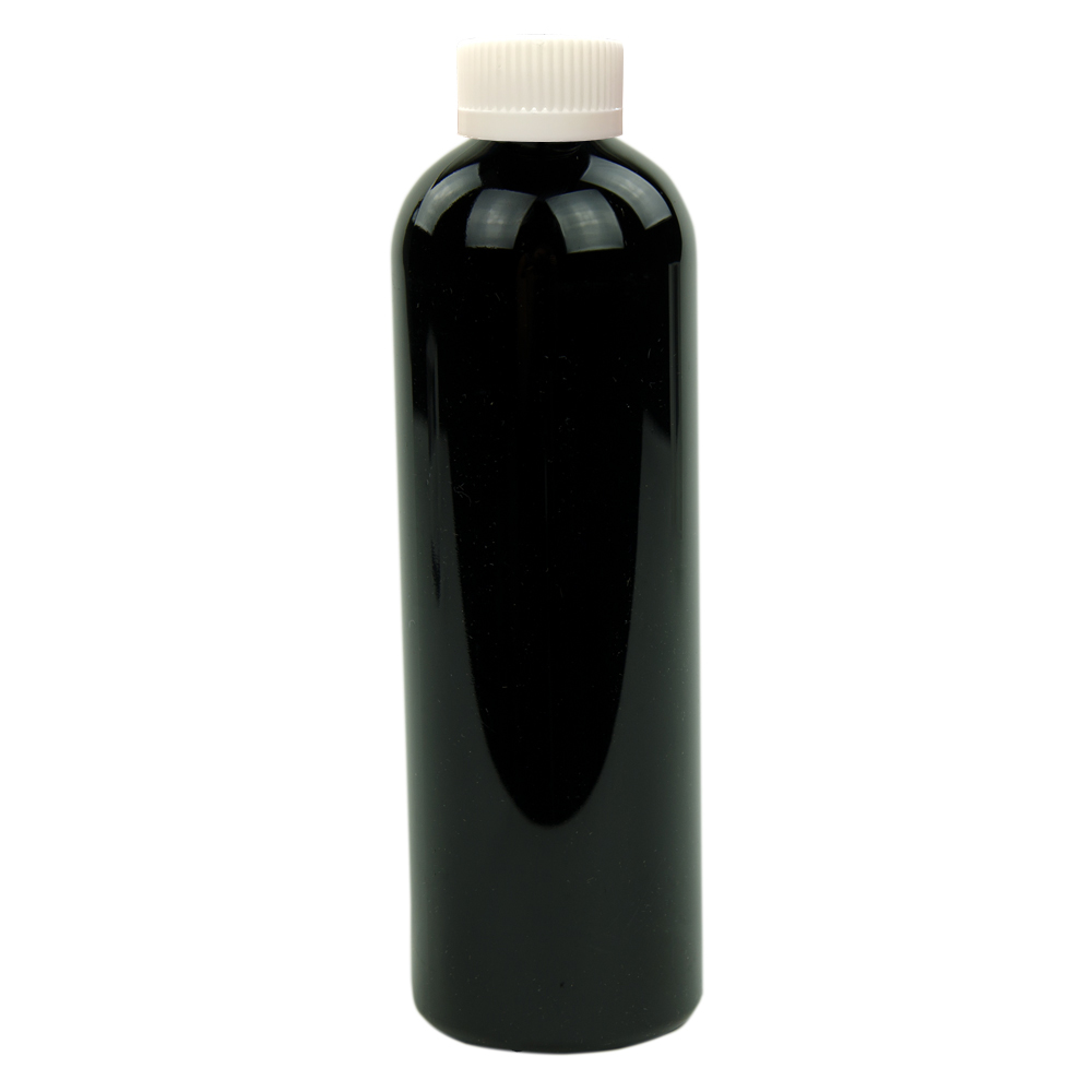 12 oz. Black PET Cosmo Round Bottle with CRC 24/410 Cap
