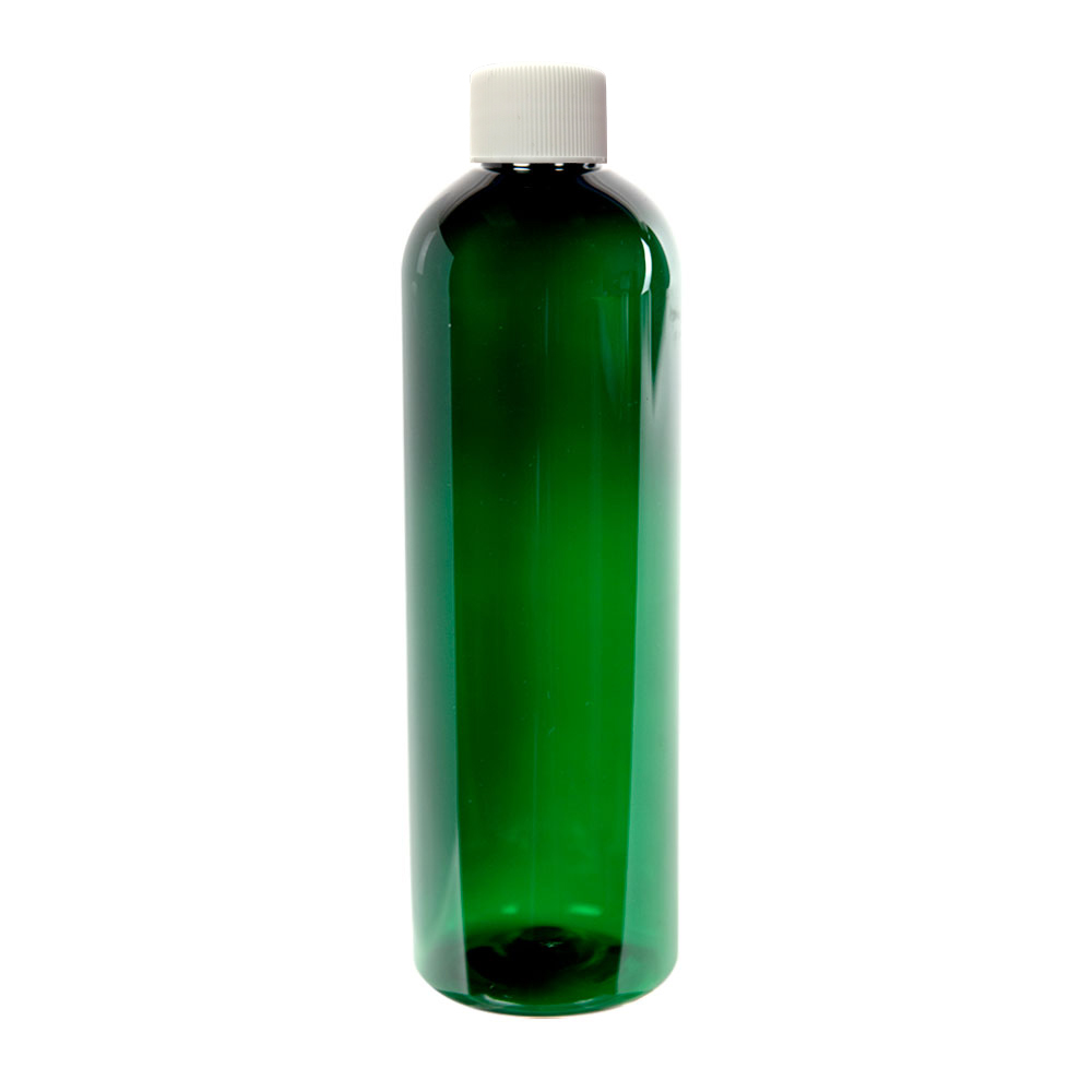 12 oz. Dark Green PET Cosmo Round Bottle with Plain 24/410 Cap