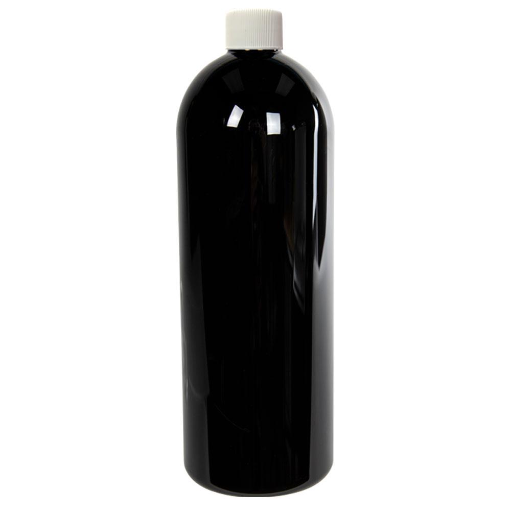 16 oz. Black PET Cosmo Round Bottle with Plain 24/410 Cap