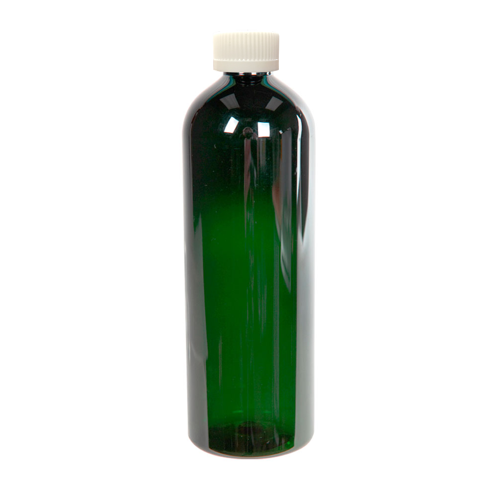 16 oz. Dark Green PET Cosmo Round Bottle with CRC 24/410 Cap