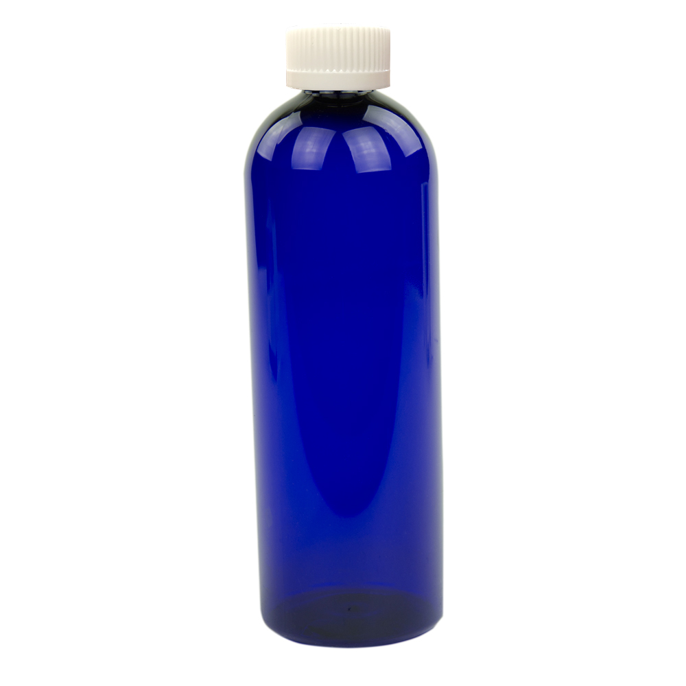 16 oz. Cobalt Blue PET Cosmo Round Bottle with CRC 24/410 Cap with F217 Liner
