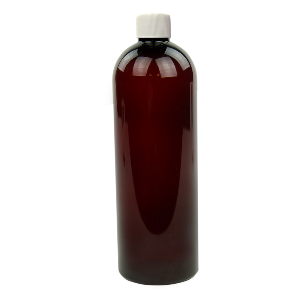 16 oz. Light Amber PET Cosmo Round Bottle with Plain 24/410 Cap